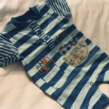 0-3 Month Mixed blue See Print Playsuit